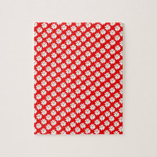Flores del cosmos con el fondo rojo puzzles con fotos