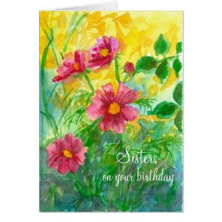 Flores del cosmos del rosa de la hermana del feliz tarjeta de felicitación