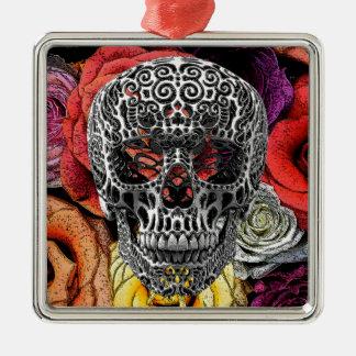Flores del cráneo adorno cuadrado plateado