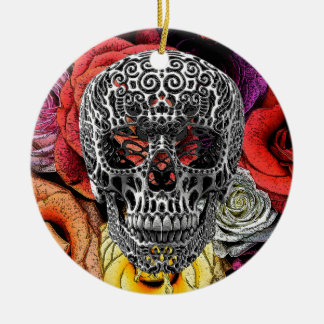 Flores del cráneo adorno redondo de cerámica