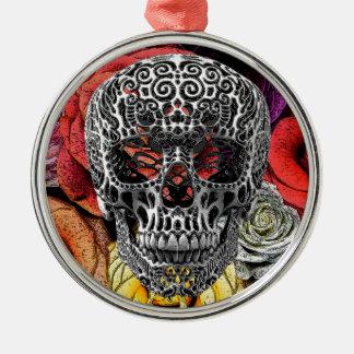 Flores del cráneo adorno redondo plateado