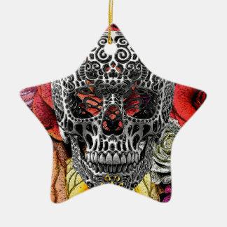 Flores del cráneo adorno de cerámica en forma de estrella