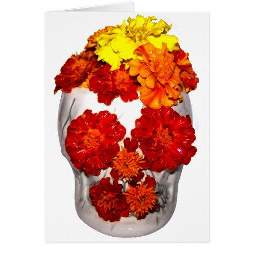 Flores del cráneo y de la maravilla tarjetón