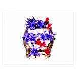 Flores del cráneo y del jacinto postal