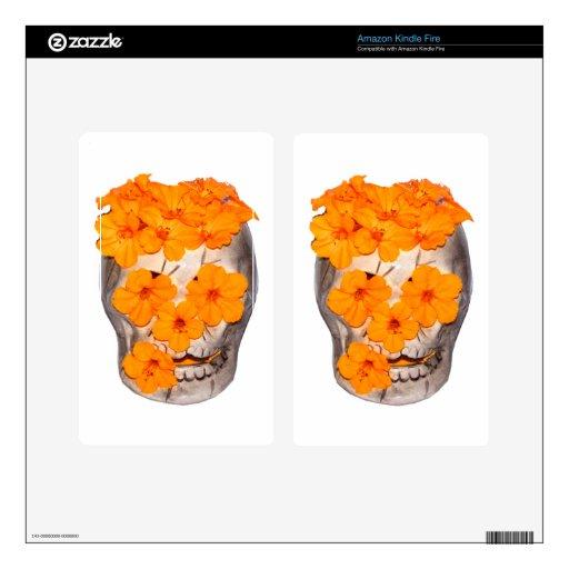 Flores del cráneo y del naranja kindle fire pegatinas skins