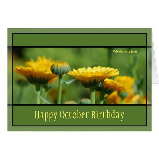 Flores del cumpleaños de octubre felicitaciones
