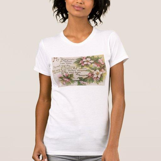 Flores del cumpleaños del vintage camiseta