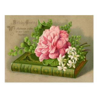 Flores del cumpleaños del vintage tarjeta postal