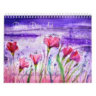 Flores del día lluvioso calendario de pared