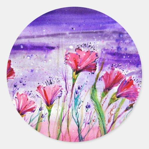 Flores del día lluvioso pegatinas