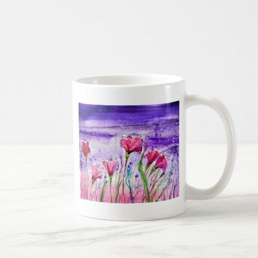 Flores del día lluvioso taza