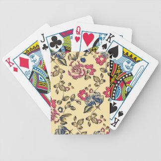 Flores del dibujo animado del vintage baraja de cartas