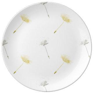 Flores del diente de león de los deseos plato de cerámica