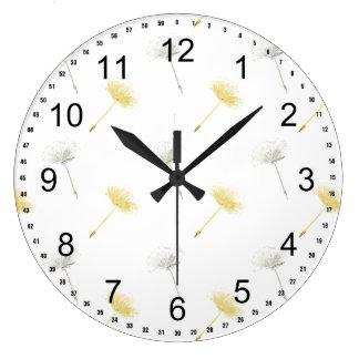 Flores del diente de león de los deseos reloj redondo grande