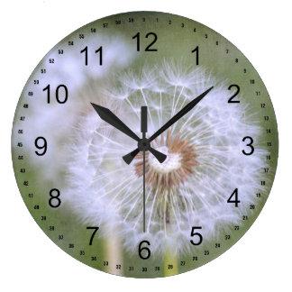 Flores del diente de león reloj redondo grande