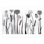 flores del doodle tarjeta postal