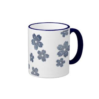 """Flores del """"dril de algodón"""" taza"""
