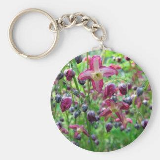 Flores del Epimedium Llavero Redondo Tipo Pin