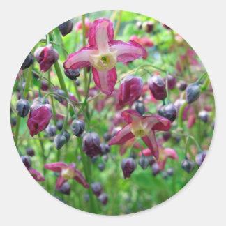 Flores del Epimedium Pegatina Redonda
