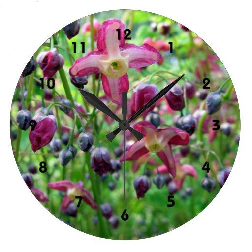 Flores del Epimedium Reloj Redondo Grande