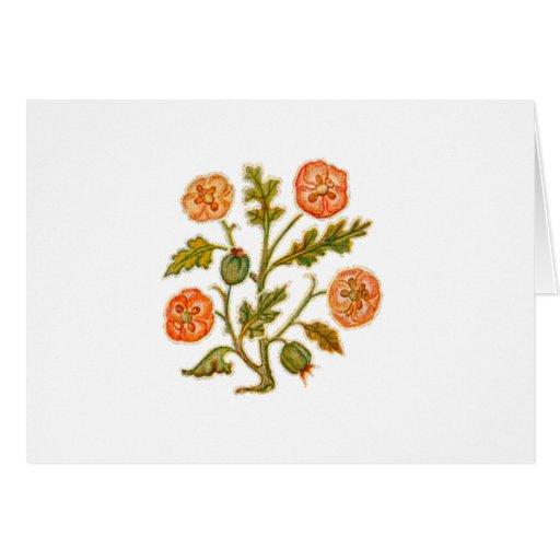 Flores del estilo del bordado del vintage tarjetón