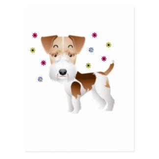 Flores del fox terrier postales