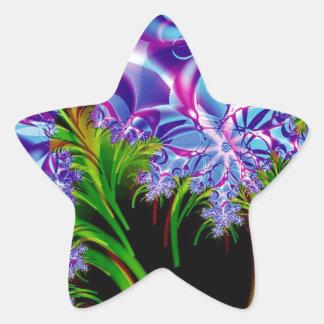 Flores del fractal pegatina en forma de estrella