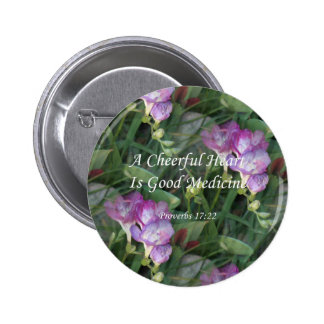 Flores del Freesia del ~ Proverbs17-22 Pin Redondo De 2 Pulgadas