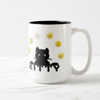 Flores del gatito de los gatos taza dos tonos