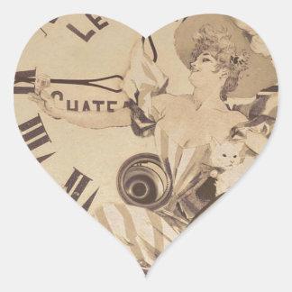 Flores del gato del reloj de la mujer del vintage pegatina en forma de corazón