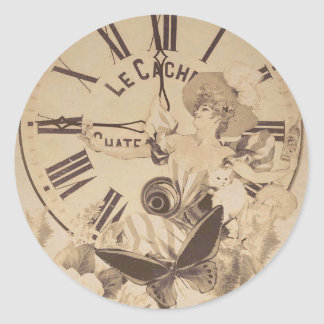 Flores del gato del reloj de la mujer del vintage pegatina redonda