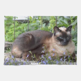 flores del gato siamés toallas