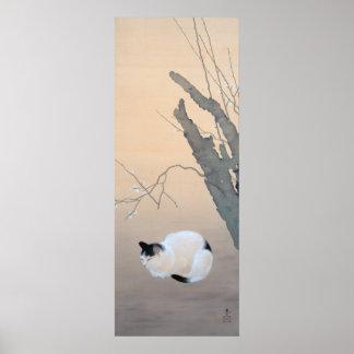 Flores del gato y del ciruelo póster