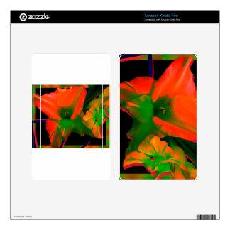 Flores del gladiolo de Sherbert Kindle Fire Pegatinas Skins