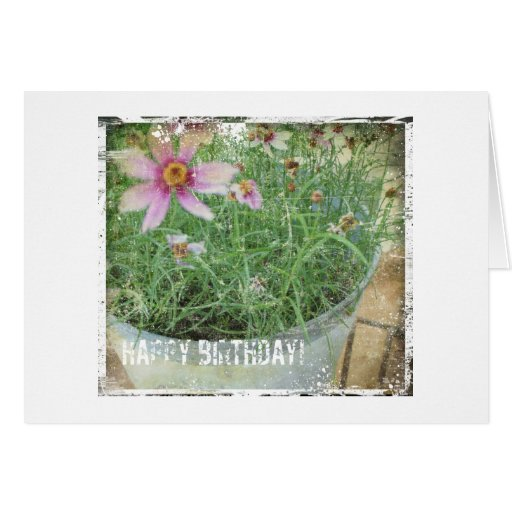 Flores del Grunge del feliz cumpleaños Tarjetas