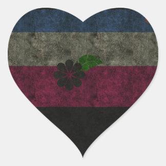Flores del Grunge Pegatina En Forma De Corazón