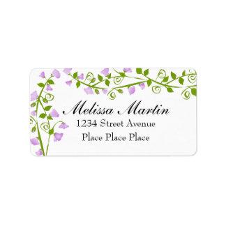 Flores del guisante de olor de la lila etiqueta de dirección