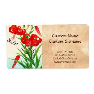 Flores del hanga de la espinilla de los lirios etiquetas de envío
