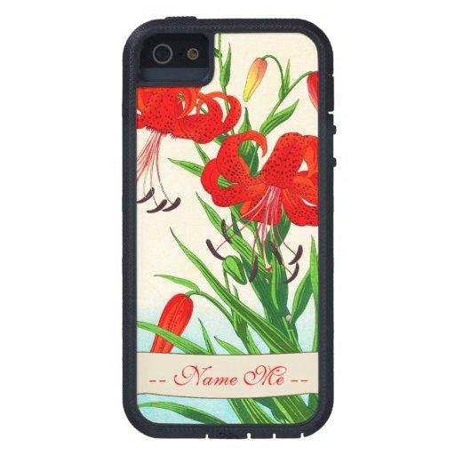 Flores del hanga de la espinilla de los lirios iPhone 5 carcasa