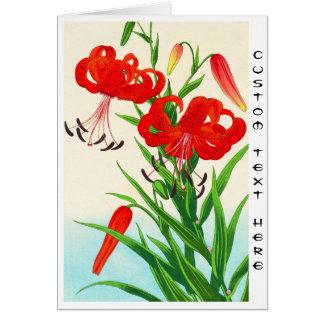 Flores del hanga de la espinilla de los lirios tarjeta pequeña
