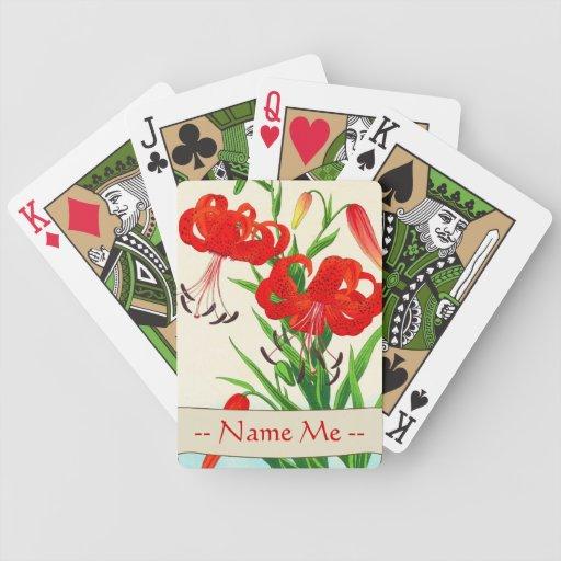 Flores del hanga de la espinilla de los lirios tig baraja cartas de poker