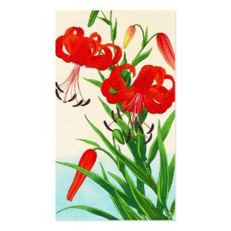 Flores del hanga de la espinilla de los lirios tig tarjeta de visita