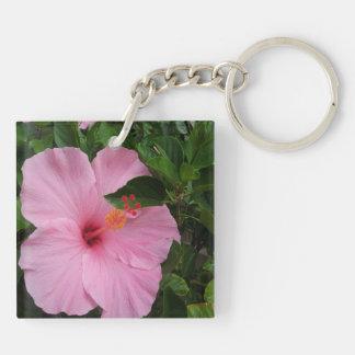 Flores del hibisco de la bahía de Hawaii Hanauma Llavero Cuadrado Acrílico A Doble Cara