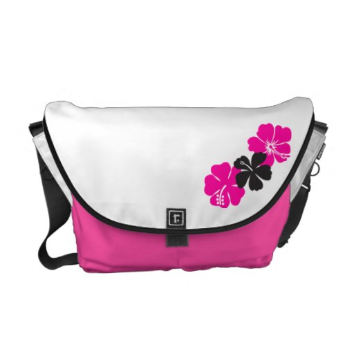 Flores del hibisco de las rosas fuertes bolsas messenger