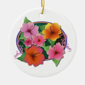 Flores del hibisco adorno redondo de cerámica