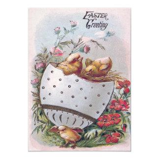 """Flores del huevo del polluelo de Pascua Invitación 5"""" X 7"""""""