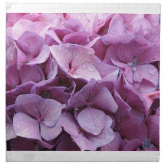 Flores del Hydrangea fijados de cuatro servilletas