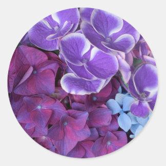 Flores del Hydrangea Pegatina Redonda