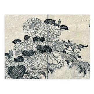 Flores del hydrangea por Tachibana, Yasukuni Tarjeta Postal