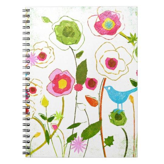 Flores del jardín de la acuarela libreta espiral